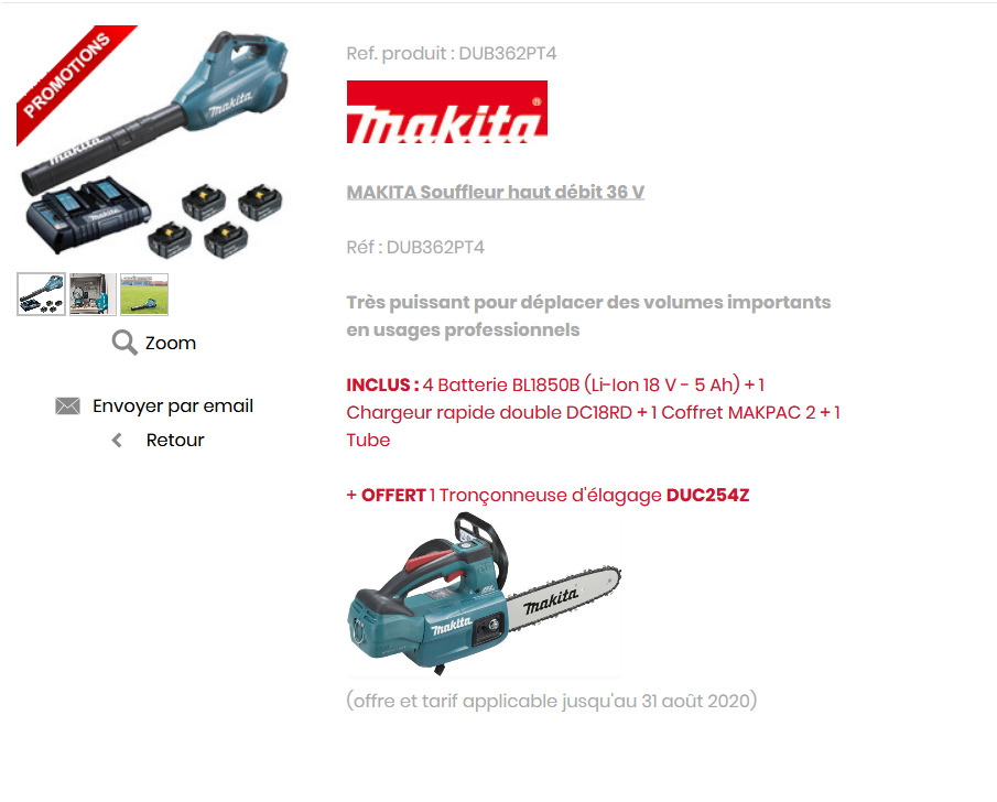 Screenshot 2020 05 16 makita souffleur haut debit 36 v 4 batteries 5 ah offert ref dub362pt4